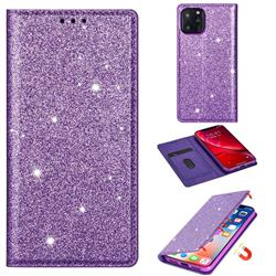 Ultra Slim Glitter Powder Magnetic Automatic Suction Leather Wallet Case for iPhone 11 Pro Max (6.5 inch) - Purple