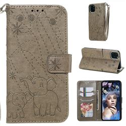 Embossing Fireworks Elephant Leather Wallet Case for iPhone 11 Pro Max (6.5 inch) - Gray