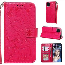 Embossing Fireworks Elephant Leather Wallet Case for iPhone 11 Pro Max (6.5 inch) - Red