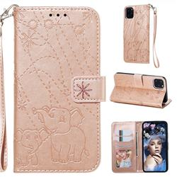 Embossing Fireworks Elephant Leather Wallet Case for iPhone 11 Pro Max (6.5 inch) - Rose Gold