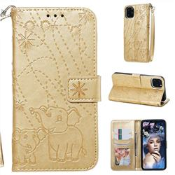 Embossing Fireworks Elephant Leather Wallet Case for iPhone 11 Pro Max (6.5 inch) - Golden