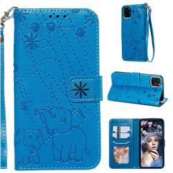 Embossing Fireworks Elephant Leather Wallet Case for iPhone 11 Pro Max (6.5 inch) - Blue