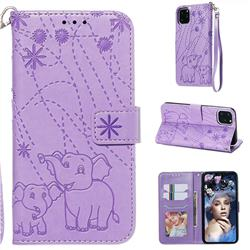 Embossing Fireworks Elephant Leather Wallet Case for iPhone 11 Pro Max (6.5 inch) - Purple
