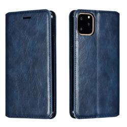 Retro Slim Magnetic Crazy Horse PU Leather Wallet Case for iPhone 11 Pro Max (6.5 inch) - Blue
