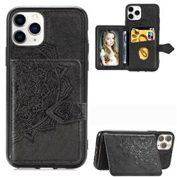 Mandala Flower Cloth Multifunction Stand Card Leather Phone Case for iPhone 11 Pro Max (6.5 inch) - Black