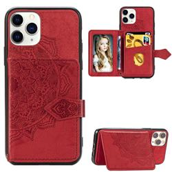 Mandala Flower Cloth Multifunction Stand Card Leather Phone Case for iPhone 11 Pro Max (6.5 inch) - Red