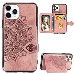 Mandala Flower Cloth Multifunction Stand Card Leather Phone Case for iPhone 11 Pro Max (6.5 inch) - Rose Gold