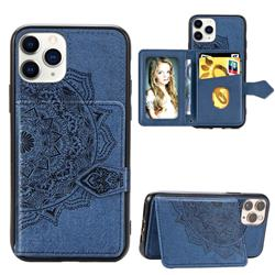 Mandala Flower Cloth Multifunction Stand Card Leather Phone Case for iPhone 11 Pro Max (6.5 inch) - Blue