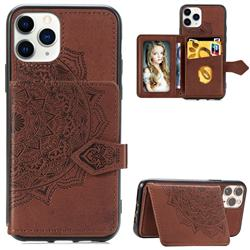 Mandala Flower Cloth Multifunction Stand Card Leather Phone Case for iPhone 11 Pro Max (6.5 inch) - Brown