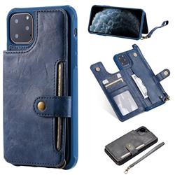 Retro Aristocratic Demeanor Anti-fall Leather Phone Back Cover for iPhone 11 Pro Max (6.5 inch) - Blue