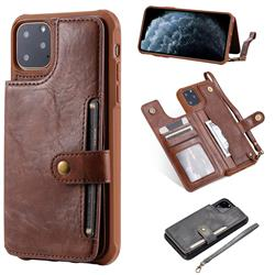 Retro Aristocratic Demeanor Anti-fall Leather Phone Back Cover for iPhone 11 Pro Max (6.5 inch) - Coffee
