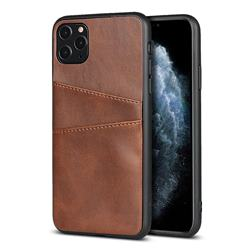 Simple Calf Card Slots Mobile Phone Back Cover for iPhone 11 Pro Max (6.5 inch) - Coffee