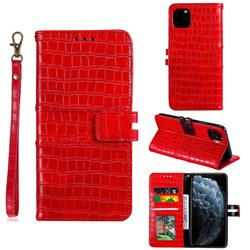 Luxury Crocodile Magnetic Leather Wallet Phone Case for iPhone 11 Pro Max (6.5 inch) - Red