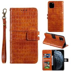 Luxury Crocodile Magnetic Leather Wallet Phone Case for iPhone 11 Pro Max (6.5 inch) - Brown