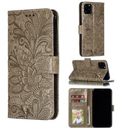 Intricate Embossing Lace Jasmine Flower Leather Wallet Case for iPhone 11 Pro Max (6.5 inch) - Gray
