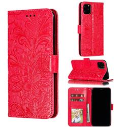 Intricate Embossing Lace Jasmine Flower Leather Wallet Case for iPhone 11 Pro Max (6.5 inch) - Red