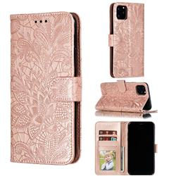 Intricate Embossing Lace Jasmine Flower Leather Wallet Case for iPhone 11 Pro Max (6.5 inch) - Rose Gold