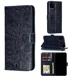 Intricate Embossing Lace Jasmine Flower Leather Wallet Case for iPhone 11 Pro Max (6.5 inch) - Dark Blue