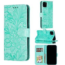 Intricate Embossing Lace Jasmine Flower Leather Wallet Case for iPhone 11 Pro Max (6.5 inch) - Green