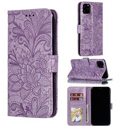 Intricate Embossing Lace Jasmine Flower Leather Wallet Case for iPhone 11 Pro Max (6.5 inch) - Purple