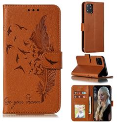 Intricate Embossing Lychee Feather Bird Leather Wallet Case for iPhone 11 Pro Max (6.5 inch) - Brown