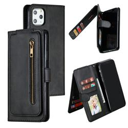 Multifunction 9 Cards Leather Zipper Wallet Phone Case for iPhone 11 Pro Max (6.5 inch) - Black