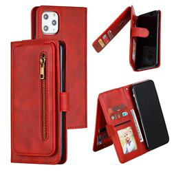 Multifunction 9 Cards Leather Zipper Wallet Phone Case for iPhone 11 Pro Max (6.5 inch) - Red