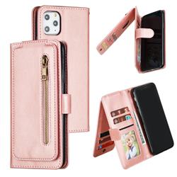 Multifunction 9 Cards Leather Zipper Wallet Phone Case for iPhone 11 Pro Max (6.5 inch) - Rose Gold