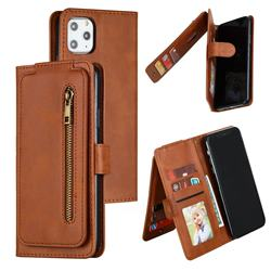 Multifunction 9 Cards Leather Zipper Wallet Phone Case for iPhone 11 Pro Max (6.5 inch) - Brown