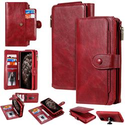 Retro Multifunction Zipper Magnetic Separable Leather Phone Case Cover for iPhone 11 Pro Max (6.5 inch) - Red