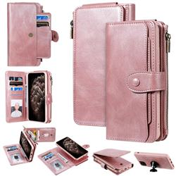 Retro Multifunction Zipper Magnetic Separable Leather Phone Case Cover for iPhone 11 Pro Max (6.5 inch) - Rose Gold