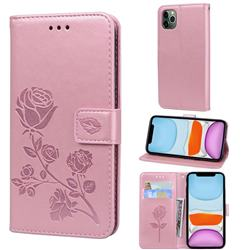 Embossing Rose Flower Leather Wallet Case for iPhone 11 Pro Max (6.5 inch) - Rose Gold