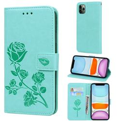 Embossing Rose Flower Leather Wallet Case for iPhone 11 Pro Max (6.5 inch) - Green