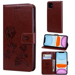Embossing Rose Flower Leather Wallet Case for iPhone 11 Pro Max (6.5 inch) - Brown