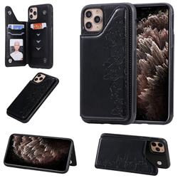 Yikatu Luxury Cute Cats Multifunction Magnetic Card Slots Stand Leather Back Cover for iPhone 11 Pro Max (6.5 inch) - Black
