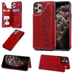 Yikatu Luxury Cute Cats Multifunction Magnetic Card Slots Stand Leather Back Cover for iPhone 11 Pro Max (6.5 inch) - Red