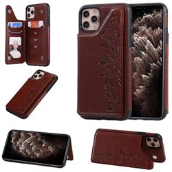 Yikatu Luxury Cute Cats Multifunction Magnetic Card Slots Stand Leather Back Cover for iPhone 11 Pro Max (6.5 inch) - Brown