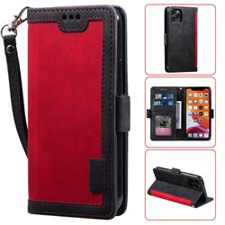 Luxury Retro Stitching Leather Wallet Phone Case for iPhone 11 Pro Max (6.5 inch) - Deep Red