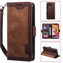Luxury Retro Stitching Leather Wallet Phone Case for iPhone 11 Pro Max (6.5 inch) - Dark Brown
