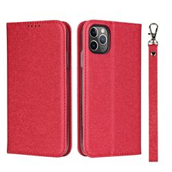 Ultra Slim Magnetic Automatic Suction Silk Lanyard Leather Flip Cover for iPhone 11 Pro Max (6.5 inch) - Red