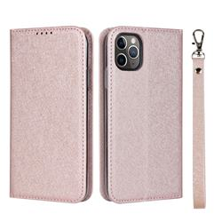 Ultra Slim Magnetic Automatic Suction Silk Lanyard Leather Flip Cover for iPhone 11 Pro Max (6.5 inch) - Rose Gold