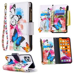 Binfen Color BF03 Retro Zipper Leather Wallet Phone Case for iPhone 11 Pro Max (6.5 inch) - Vivid Flying Butterflies