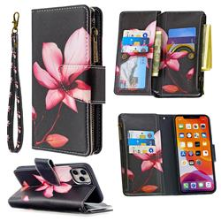 Lotus Flower Binfen Color BF03 Retro Zipper Leather Wallet Phone Case for iPhone 11 Pro Max (6.5 inch)