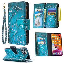 Binfen Color BF03 Retro Zipper Leather Wallet Phone Case for iPhone 11 Pro Max (6.5 inch) - Blue Plum