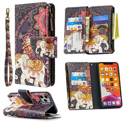 Binfen Color BF03 Retro Zipper Leather Wallet Phone Case for iPhone 11 Pro Max (6.5 inch) - Totem Flower Elephant