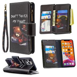 Binfen Color BF03 Retro Zipper Leather Wallet Phone Case for iPhone 11 Pro Max (6.5 inch) - Chainsaw Bear