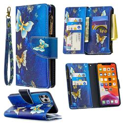 Binfen Color BF03 Retro Zipper Leather Wallet Phone Case for iPhone 11 Pro Max (6.5 inch) - Golden Butterflies