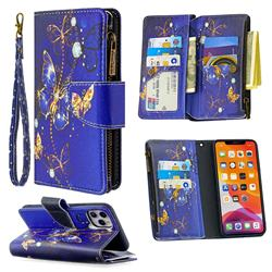 Purple Butterfly Binfen Color BF03 Retro Zipper Leather Wallet Phone Case for iPhone 11 Pro Max (6.5 inch)