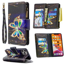 Golden Shining Butterfly Binfen Color BF03 Retro Zipper Leather Wallet Phone Case for iPhone 11 Pro Max (6.5 inch)