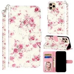 Rambler Rose Flower 3D Leather Phone Holster Wallet Case for iPhone 11 Pro Max (6.5 inch)